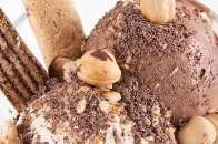 Chocolate ice cream with hazelnuts